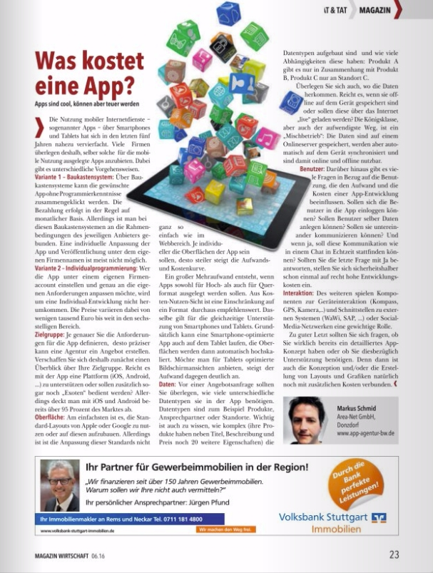 artikel im ihk magazin was kostet eine app von der app agentur. Black Bedroom Furniture Sets. Home Design Ideas